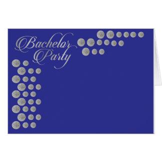 Plata elegante e invitación azul de la despedida tarjeta de felicitación