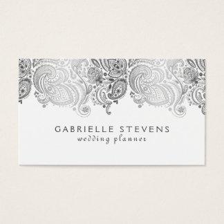 Plata elegante y planificador blanco del boda de tarjeta de negocios