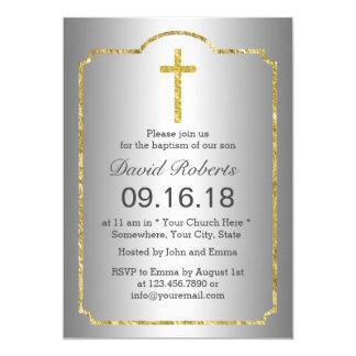 Plata enmarcada oro cruzado santo del bautizo del invitación 12,7 x 17,8 cm