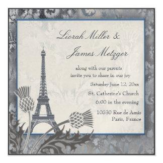 Plata escocesa del cardo de la torre Eiffel Invitación 13,3 Cm X 13,3cm