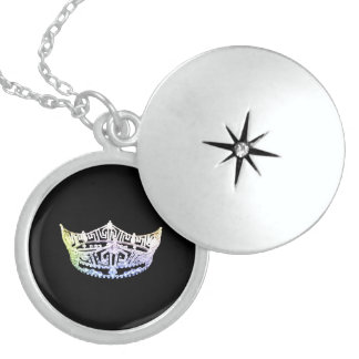 Plata esterlina del collar del Locket de la corona