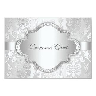 Plata floral RSVP del remolino del damasco Invitación 8,9 X 12,7 Cm