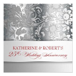 plata hermosa 25 invitaciones del aniversario invitacion personalizada