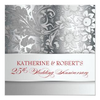 plata hermosa 25 invitaciones del aniversario invitación 13,3 cm x 13,3cm