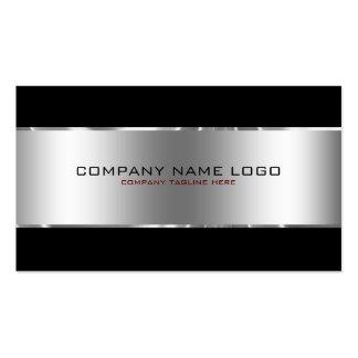 Plata metalizada brillante simple moderna y negro tarjetas de visita