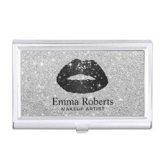 Plata moderna de los labios del brillo del negro caja de tarjetas de presentación
