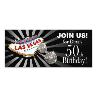 Plata negra del 50.o cumpleaños de Las Vegas Invitación 10,1 X 23,5 Cm