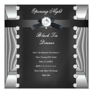 Plata negra formal del lazo negro de la noche de invitación 13,3 cm x 13,3cm