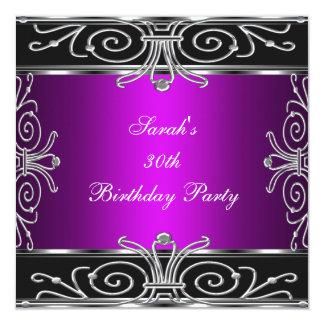 Plata negra magenta del trigésimo cumpleaños invitación 13,3 cm x 13,3cm