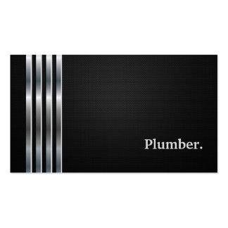 Plata negra profesional del fontanero tarjetas de visita