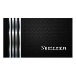 Plata negra profesional del nutricionista el tarjetas de visita