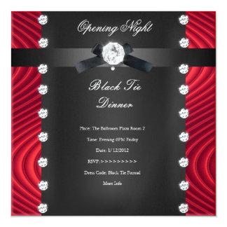 Plata negra roja formal del lazo negro de la noche invitación 13,3 cm x 13,3cm