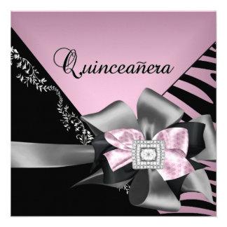 Plata negra rosada de la cebra de Quinceanera 15 Comunicados Personalizados