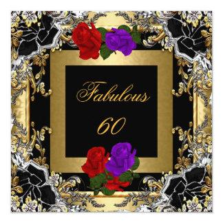Plata púrpura del negro del oro del rosa rojo 60 invitación 13,3 cm x 13,3cm
