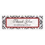Plata roja del vintage y etiquetas negras del boda tarjetas personales