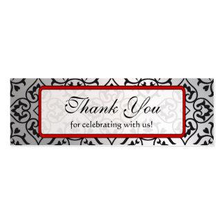Plata roja del vintage y etiquetas negras del boda tarjetas de visita mini