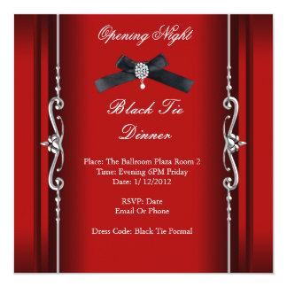 Plata roja formal del lazo negro de la noche de la invitación 13,3 cm x 13,3cm