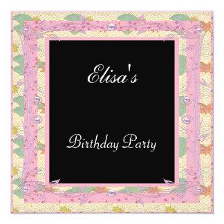 Plata rosada de la fiesta de cumpleaños del negro invitación 13,3 cm x 13,3cm