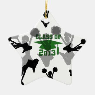 plata verde 2013 adorno navideño de cerámica en forma de estrella