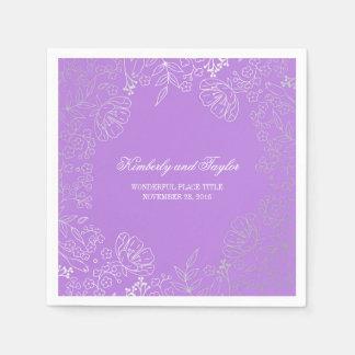 Plata y boda floral púrpura del vintage servilletas de papel