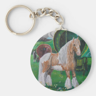 Plata y caballo y furgoneta románticos del oro llavero redondo tipo chapa