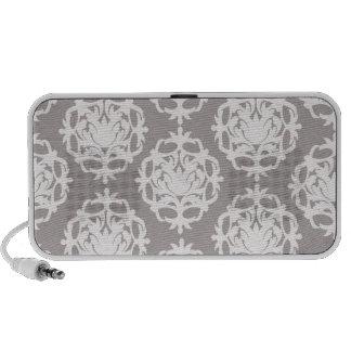 plata y damasco adornado blanco iPod altavoces