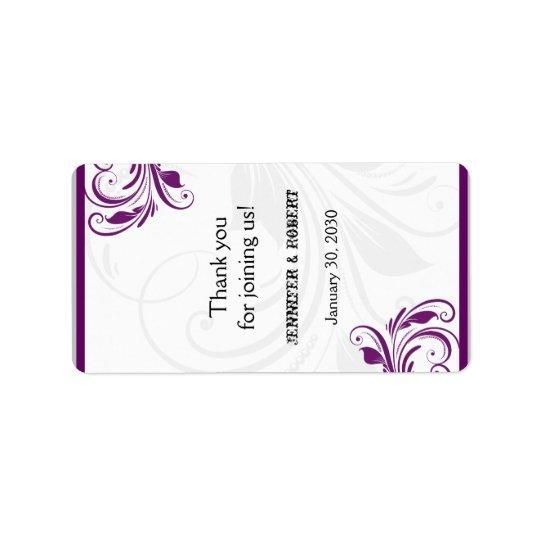 Plata y etiqueta floral púrpura del protector etiqueta de dirección
