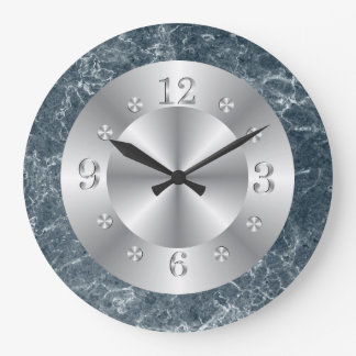 Plata y falso mármol azul reloj redondo grande