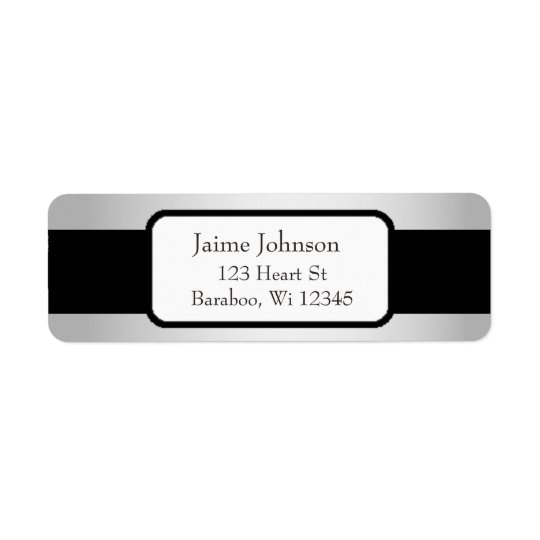 Plata y pegatina con clase del remite del negro etiqueta de remitente