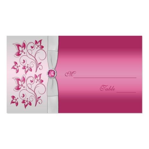 Plata y rosa Placecards floral Plantillas De Tarjetas Personales