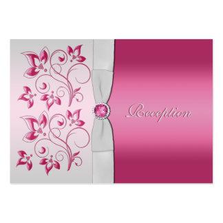 Plata y tarjeta floral de la recepción del rosa tarjetas de visita