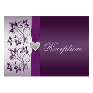 Plata y tarjeta floral púrpura del recinto tarjetas de visita