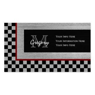 Plata y tarjetas de visita a cuadros del monograma