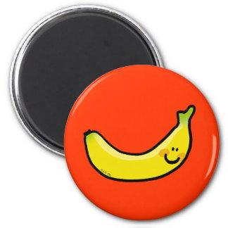 Plátano amarillo divertido imán redondo 5 cm