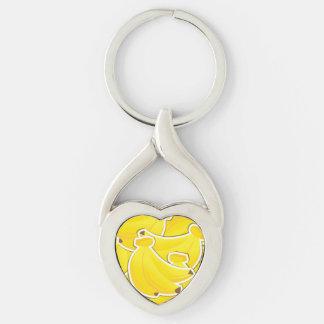 Plátano enrrollado llavero plateado en forma de corazón