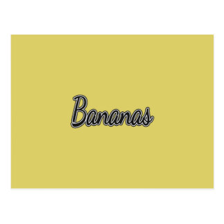 Plátanos blancos y negros en amarillo postal