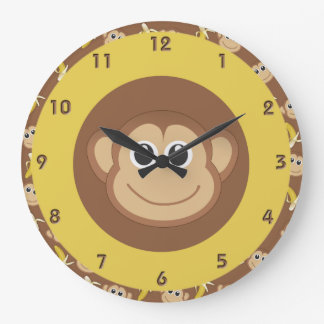 Plátanos del mono reloj redondo grande