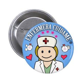 Chapa Enfermera Cuidame Plis Rubia Azul Chapa Redonda 5 Cm