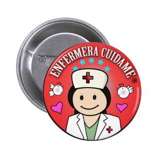 Chapa Enfermera Cuidame Morena Roja