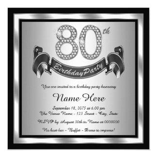Platee a la 80.a fiesta de cumpleaños invitación 13,3 cm x 13,3cm