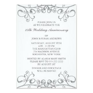 Platee el 25to aniversario de boda invitación 12,7 x 17,8 cm