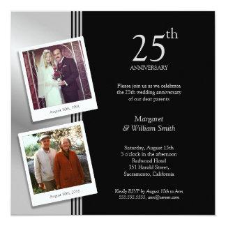 Platee el 25to aniversario de boda más 2 fotos invitación 13,3 cm x 13,3cm