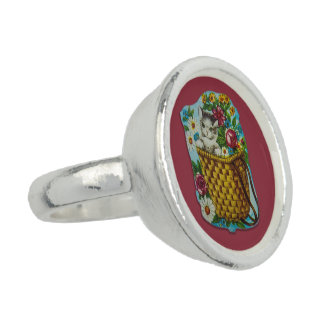 Platee el anillo plateado con motivo lindo del