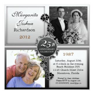 platee las 25tas invitaciones de las fotos del invitación 13,3 cm x 13,3cm
