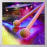 Platillo y palillos redondos del tambor de la extr impresiones