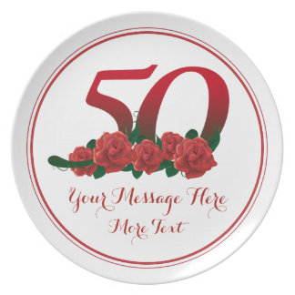 Plato 0a placa del aniversario 50 del cumpleaños del