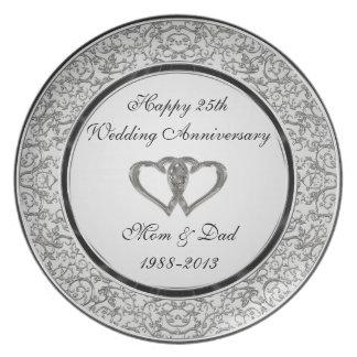 Plato 25to Placa de la melamina del aniversario de boda