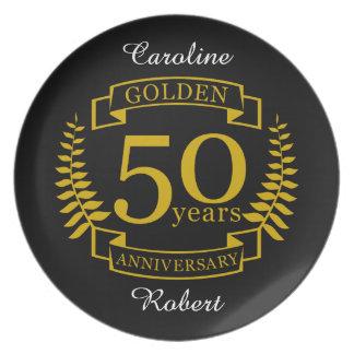 Plato 50 años de oro DE ORO de aniversario de boda 50
