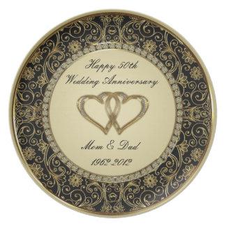 Plato 50.o Placa de la melamina del aniversario de boda