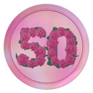 Plato 50 placa floral del aniversario 50.o del